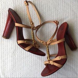 Giuseppe Zanotti Brass-Twist Leather Strap Sandals